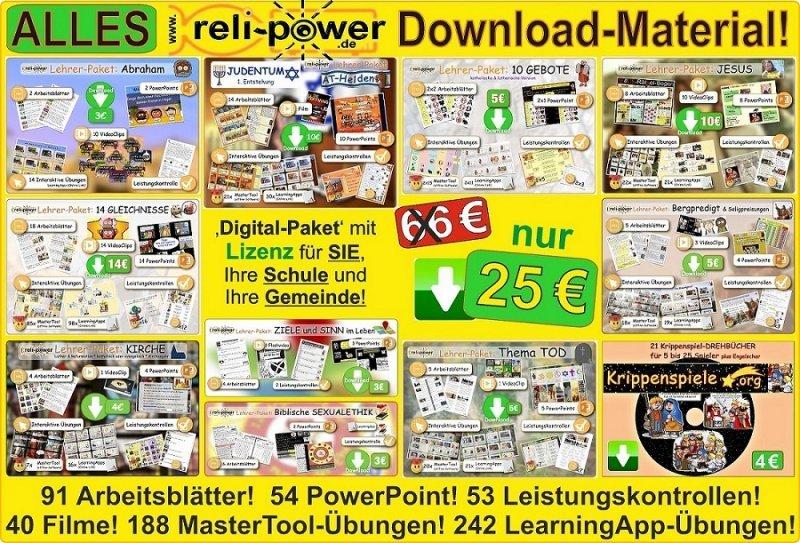 ALLES Download-Material von Reli-Power! Also ALLE 10 Lehrer-Pakete!